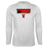 Performance White Longsleeve Shirt-Tennis Stacked