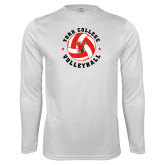 Performance White Longsleeve Shirt-Volleyball Circle