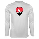 Performance White Longsleeve Shirt-Shield Logo