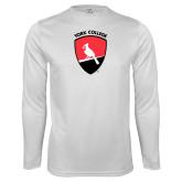 Performance White Longsleeve Shirt-York College and Shield