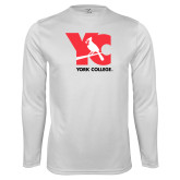 Performance White Longsleeve Shirt-YC with Perched Cardinal