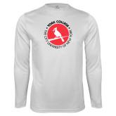 Performance White Longsleeve Shirt-Circle Text Perched Cardinal