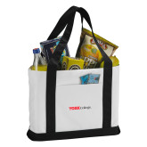 Contender White/Black Canvas Tote-Officlal Logo