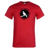 Red T Shirt-Circle Text Perched Cardinal