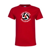 Youth Red T Shirt-Volleyball Circle