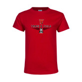 Youth Red T Shirt-Track & Field Shoe Stacked
