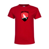 Youth Red T Shirt-York College and Shield