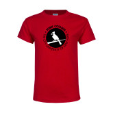 Youth Red T Shirt-Circle Text Perched Cardinal