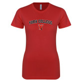 Next Level Ladies SoftStyle Junior Fitted Red Tee-York College Arched with Cardinal