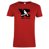 Ladies Red T Shirt-YC with Perched Cardinal
