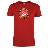 Ladies Red T Shirt-York College 50th Anniversary