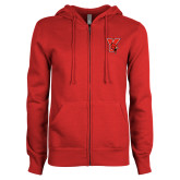 ENZA Ladies Red Fleece Full Zip Hoodie-Cardinal