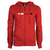 ENZA Ladies Red Fleece Full Zip Hoodie-York College with CUNY Square