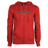 ENZA Ladies Red Fleece Full Zip Hoodie-York College Arched with Cardinal