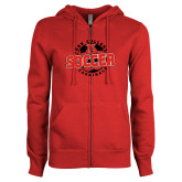 ENZA Ladies Red Fleece Full Zip Hoodie-York College Soccerball