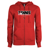 ENZA Ladies Red Fleece Full Zip Hoodie-Tennis Stacked