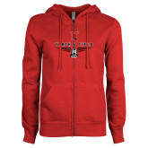 ENZA Ladies Red Fleece Full Zip Hoodie-Track & Field Shoe Stacked