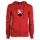 ENZA Ladies Red Fleece Full Zip Hoodie-Shield Logo