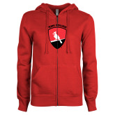 ENZA Ladies Red Fleece Full Zip Hoodie-York College and Shield