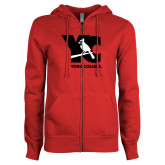 ENZA Ladies Red Fleece Full Zip Hoodie-YC with Perched Cardinal