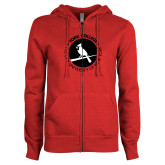 ENZA Ladies Red Fleece Full Zip Hoodie-Circle Text Perched Cardinal