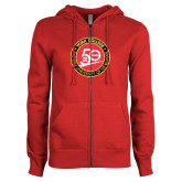 ENZA Ladies Red Fleece Full Zip Hoodie-York College 50th Anniversary