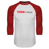 White/Red Raglan Baseball T-Shirt-Officlal Logo