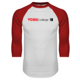 White/Red Raglan Baseball T-Shirt-York College with CUNY Square