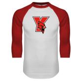 White/Red Raglan Baseball T-Shirt-Cardinal