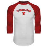 White/Red Raglan Baseball T-Shirt-York College Arched with Cardinal