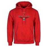 Red Fleece Hoodie-Track & Field Shoe Stacked