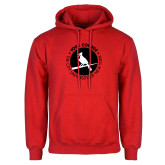 Red Fleece Hoodie-Circle Text Perched Cardinal