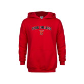 Youth Red Fleece Hoodie-York College Arched with Cardinal