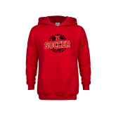 Youth Red Fleece Hoodie-York College Soccerball