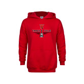 Youth Red Fleece Hoodie-Track & Field Shoe Stacked