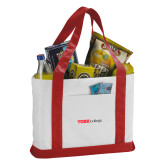 Contender White/Red Canvas Tote-Officlal Logo
