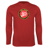 Performance Red Longsleeve Shirt-York College 50th Anniversary