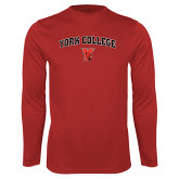 Performance Red Longsleeve Shirt-York College Arched with Cardinal