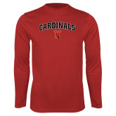 Performance Red Longsleeve Shirt-Cardinals Arched with Cardinal