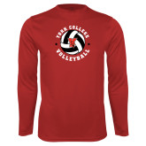 Performance Red Longsleeve Shirt-Volleyball Circle