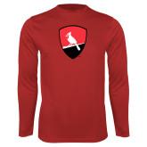 Performance Red Longsleeve Shirt-Shield Logo