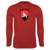 Performance Red Longsleeve Shirt-York College and Shield