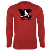 Performance Red Longsleeve Shirt-YC with Perched Cardinal