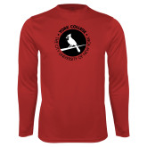 Performance Red Longsleeve Shirt-Circle Text Perched Cardinal