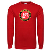 Red Long Sleeve T Shirt-York College 50th Anniversary