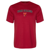 Performance Red Tee-York College Arched with Cardinal