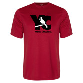 Performance Red Tee-YC with Perched Cardinal
