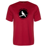 Performance Red Tee-Circle Text Perched Cardinal