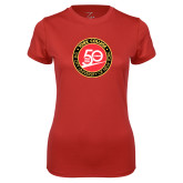 Ladies Syntrel Performance Red Tee-York College 50th Anniversary