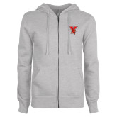 ENZA Ladies Grey Fleece Full Zip Hoodie-Cardinal